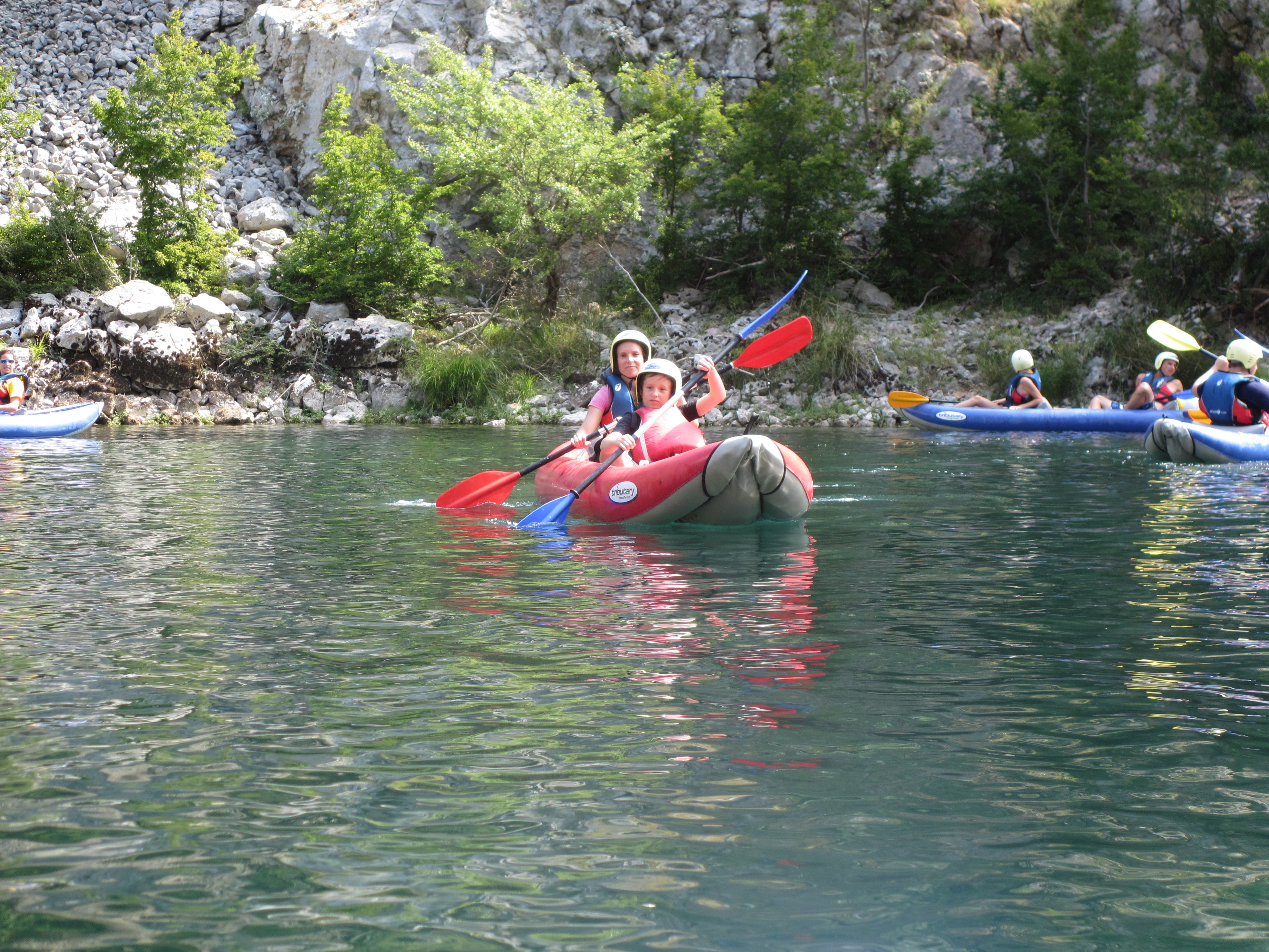Double kayak with son